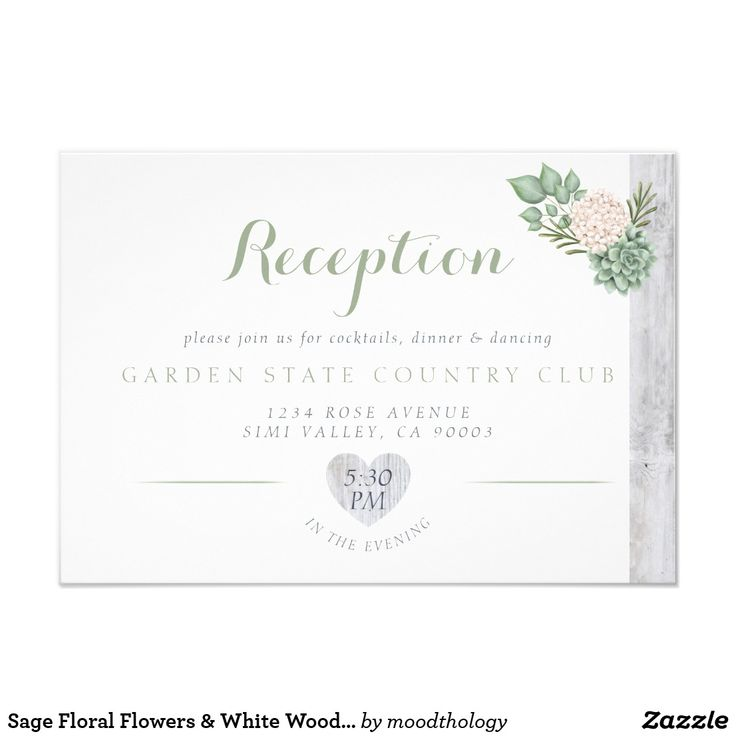Sage Floral Flowers & White Wood Wedding Reception
