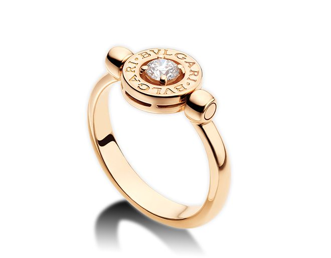 bvlgari bvlgari flip 18 kt pink gold ring with 025 ct diamond also available in