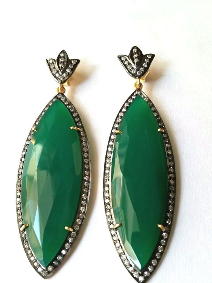 FREE SHIPPING SOLID 925 STERLING SILVER NATURAL GREEN ONYX GEMSTONE EARRING 2.4  #SilvexStore #DropDangle