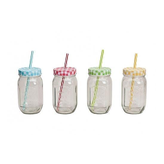 Weckpot drinkbeker 450 ml  Drinkbeker of glas potje met rietje en deksel. Inhoud: 450 ml. Transparant met gekleurde deksel. De zogenaamde Mason Jars.  EUR 2.40  Meer informatie