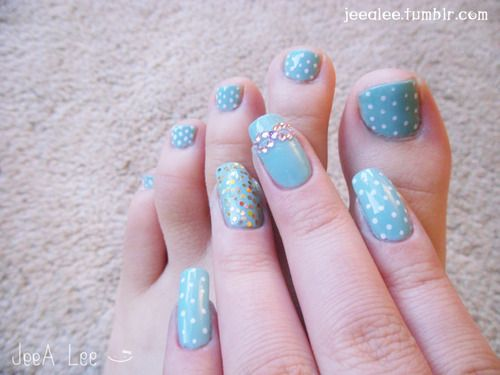 Tiffany Box Blue Base With Polka Dots, Gold Glitter, And Gems~  With Matching Toes :)