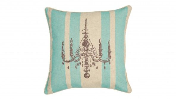 Featuring a bold stripe and classically-inspired chandelier graphic, this Ava Cushion in aqua combines contemporary and traditional influences for a stylish, sophisticated look.