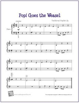 Pop Goes the Weasel | Free Sheet Music for Easy Piano - http://makingmusicfun.net/htm/f_printit_free_printable_sheet_music/pop-goes-the-weasel-piano-solo.htm