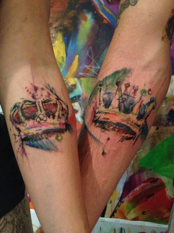 """His and Hers """"watercolor"""" crown tattoos I like the idea... but at the same time I want ours to be more detailed"""