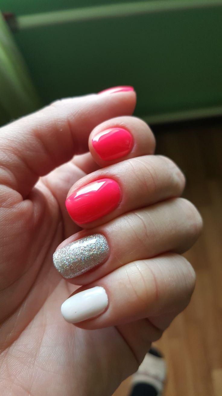 Гель лак, розовый+глитер на прозрачном топе+белый