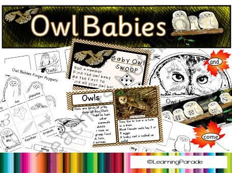 Owl Babies Story Unit (CCSS Activities) from LearningParade on TeachersNotebook.com - (40 pages) - Owl Babies Story Unit: This resource is packed full of fun activities to accompany the book by Martin Wadell. Display printables, a mask and puppets, minibook, math center game, label the owl...