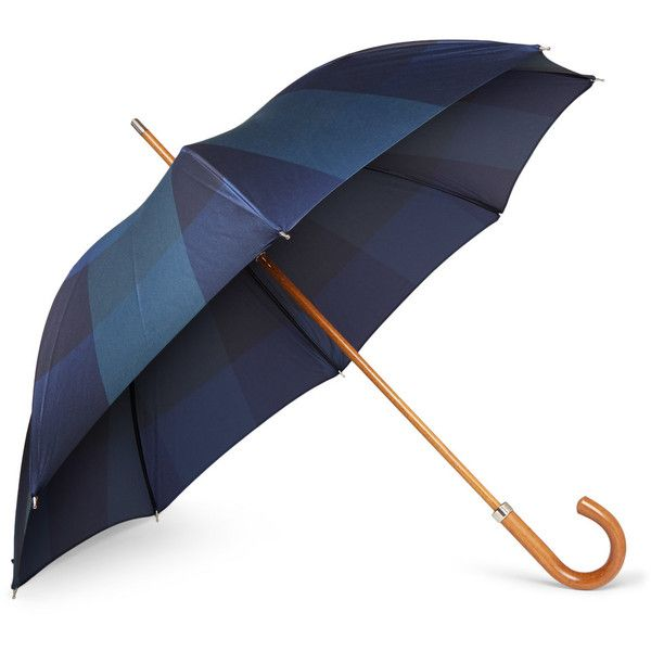 London Undercover City Lux Beech and Malacca-Wood Umbrella ($190) ❤ liked on Polyvore featuring men's fashion, men's accessories, men's umbrellas, blue and london undercover