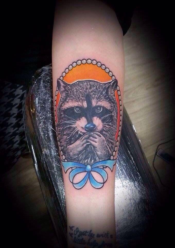 Raccoon done by Mitch Davis.  Follow on Instagram:  @mitchdavistattooer