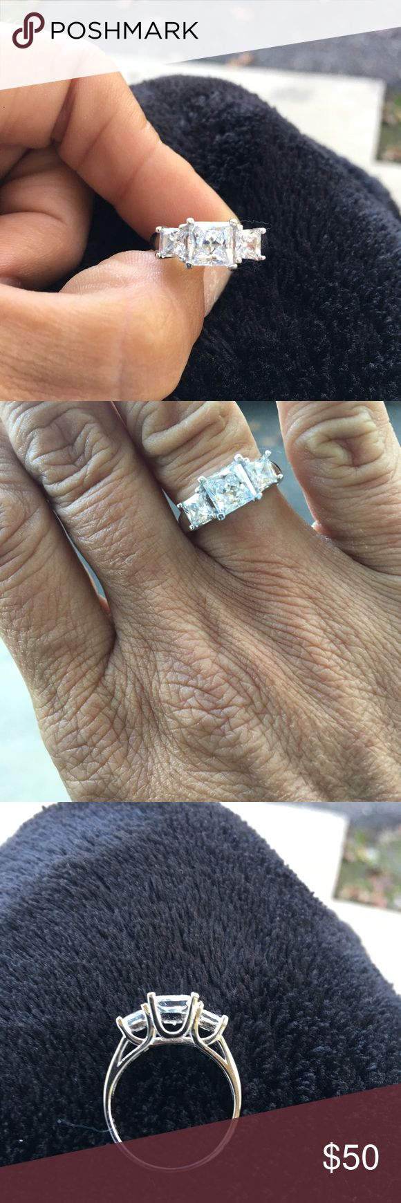 Sterling Silver Rhodium over Created Diamond Ring Sterling Silver Rhodium over Lab Created Diamond 3 stone princess cut Ring. lab created diamonds Jewelry Rings