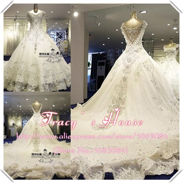 Real Sample Royal Luxury Bling Flounced Mermaid Train Bridal Ball Gown With Swarovski
