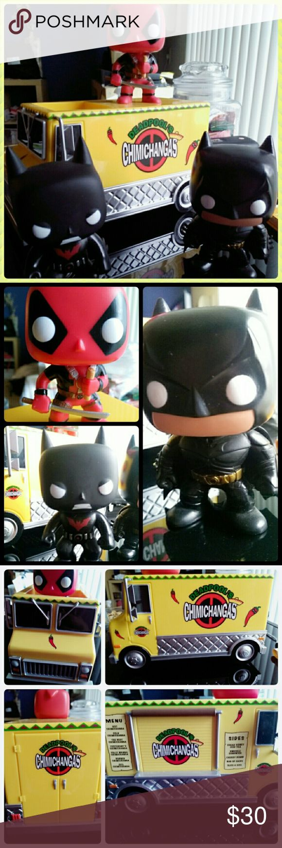 Bundle of Funko Pop Deadpool, Truck & 2 Batman Bundle includes pictured Funko Pop figurines, Deadpool Chimichanga Truck (Funko Pop #10) detachable Deadpool Funko clutching a chimichanga, Batman Beyond Terry Funko #33, & Batman Funko which I think may be Funko #19 The Dark Knight Batman by comparing images but PLEASE NOTE: unfortunately I am not 100% sure which Funko it is, this is only my guess based on image search. I do not have the original boxes for any of these, but the figures were…