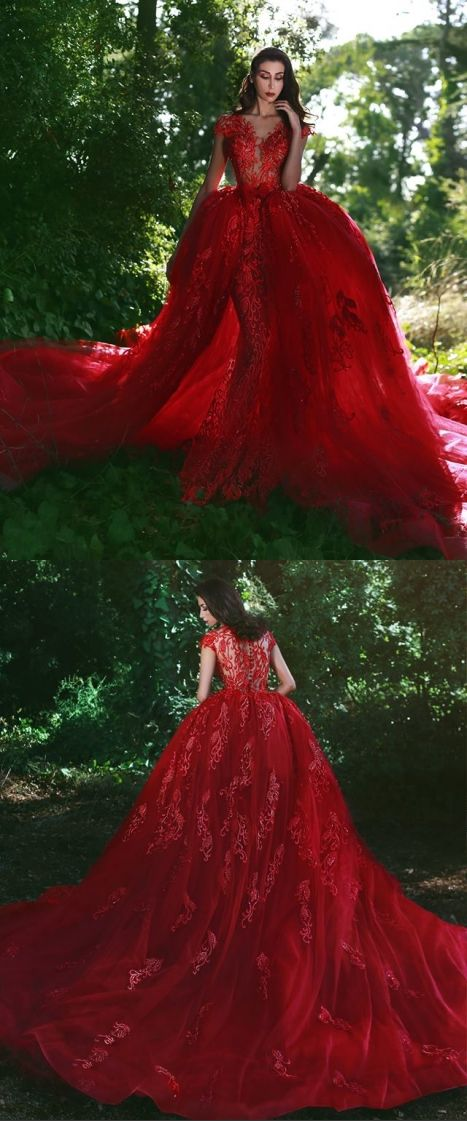 Glamorous Red Lace V-Neck Over-Skirt Appliques Wedding Dresses