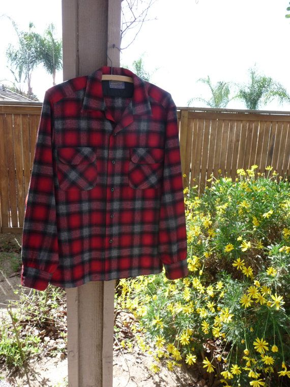 Vintage 1960's Pendleton Shirt ~ Red Gray And Black Virgin Wool Flannel Long Sleeve Shirt ~ Made In The USA ~ Size Medium, Perfect Condition