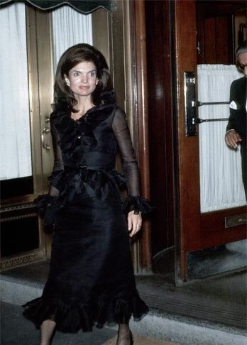 Jacqueline Kennedy wearing her 40.42 carat engagement ring from Aristotle Onassis, the Lesotho III Diamond, which sold for $2.6 million at Sotheby's in 1996. Ron Galella/Getty Images.