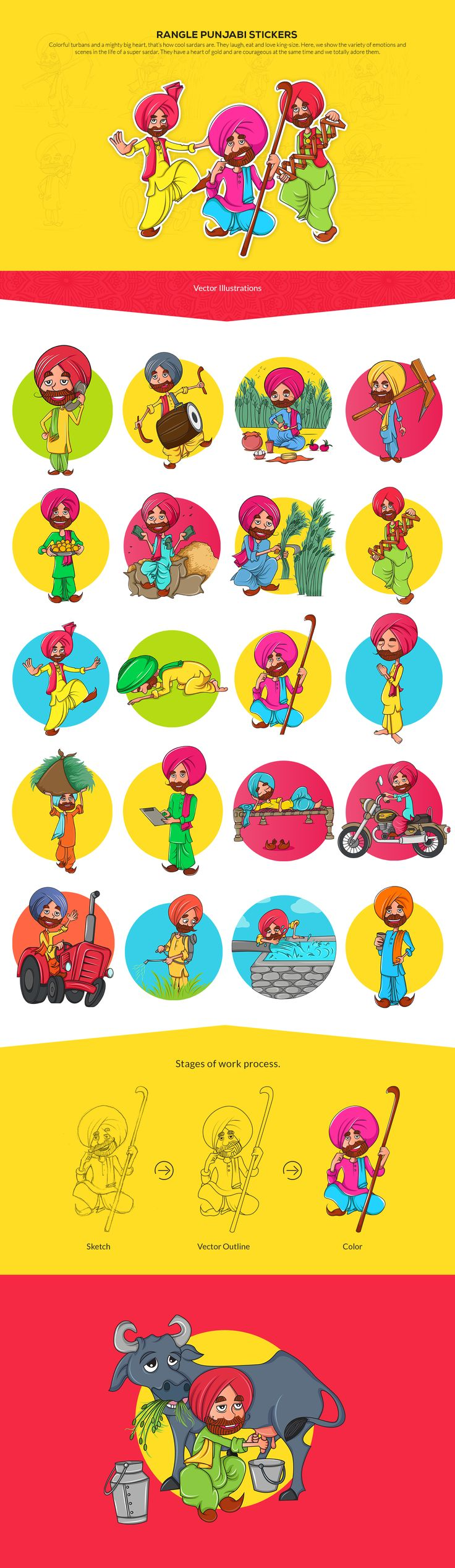 Rangle Punjabi Stickers Design  Colorful turbans and a mighty big heart, that's how cool sardars are. They laugh, eat and love king-size. Here, we show the variety of emotions and scenes in the life of a super sardar. They have a heart of gold and are courageous at the same time and we totally adore them.
