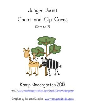 Jungle Jaunt Count and Clip Cards (Sets to 12)  $  http://www.teacherspayteachers.com/Product/Jungle-Jaunt-Count-and-Clip-Cards-Sets-to-12-748718