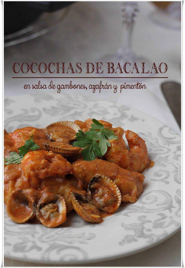 Cocochas de bacalao en salsa de gambones, azafrán y pimentón {by Paula, Con las Zarpas en la Masa}