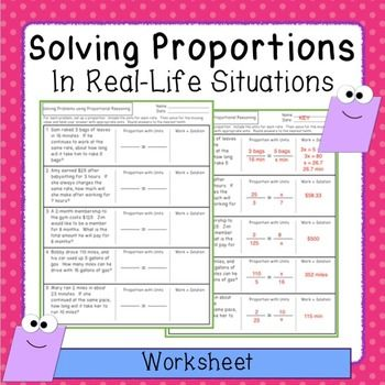 Printables Ratios And Proportions Worksheets 7th Grade 1000 ideas about proportions worksheet on pinterest ratios and this has five real world problems that can be solved by setting up a