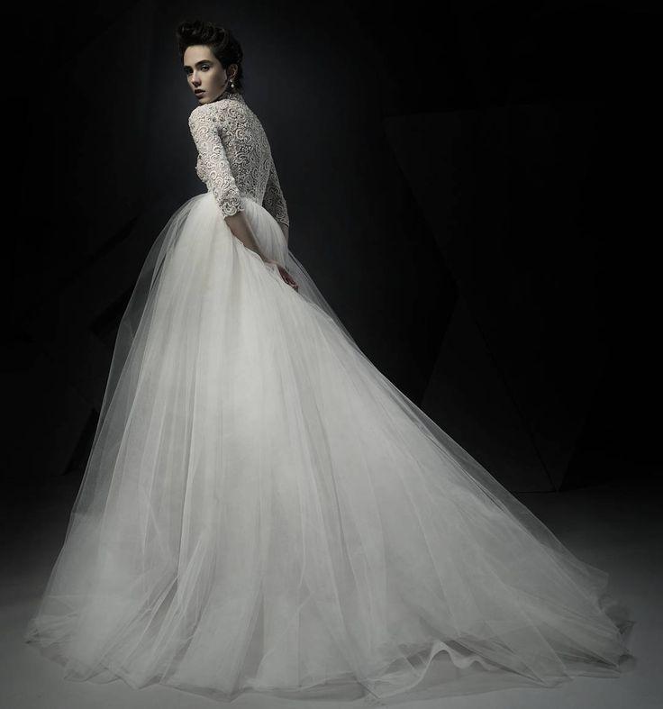 Ersa Atelier wedding gown 2018. Elegant High collar, three quarter sleeve, hand embroidered, diaphanous tulle wedding dress.