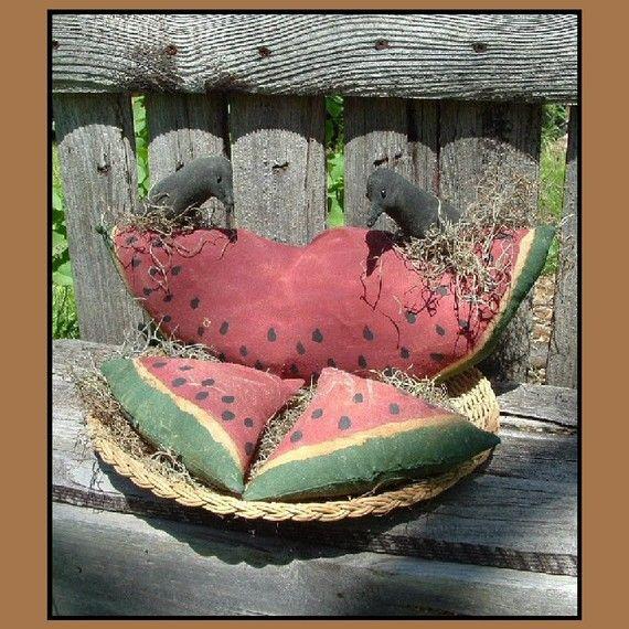 Primitive Watermelon Slice w crows PDF instant by lazydayzlucy, $7.00