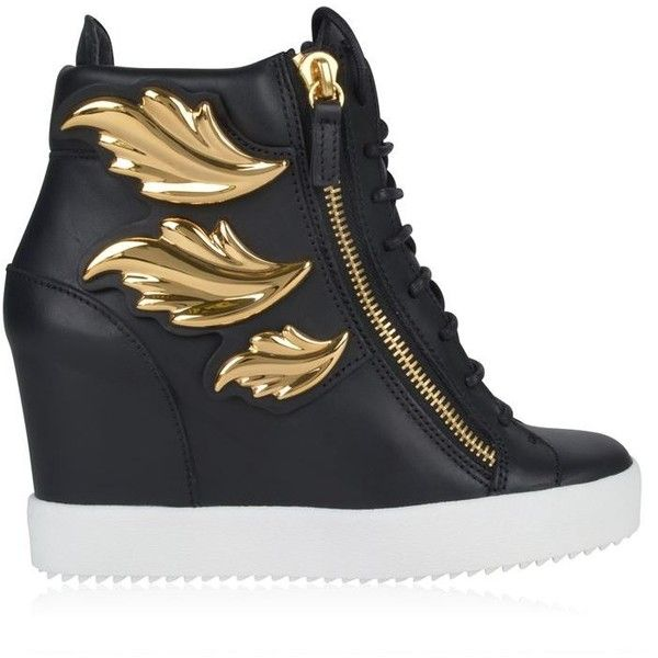 Giuseppe Zanotti Cruel Lorenz Wedge Trainers ($1,190) ❤ liked on Polyvore featuring shoes, sneakers, shoes and boots, black, wedge heel sneakers, zipper sneakers, black leather shoes, metallic sneakers and lace up sneakers