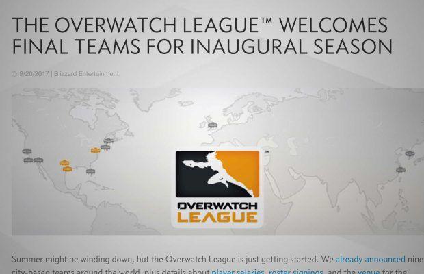 Overwatch League Finalizes Franchise List At 12 Sets Dates For Season 1