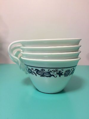 Corelle Mugs - Old Town Blue Onion Design Hook Handles Corning Ware
