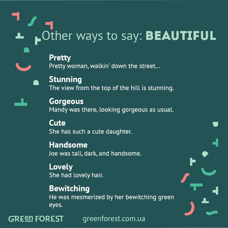Synonyms to the word BEAUTIFUL Other ways to say BEAUTIFUL