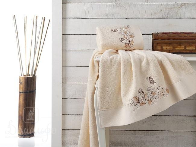Набор полотенец с вышивкой KARNA EVA абрикосовый от Karna (Турция) - купить по низкой цене в интернет магазине Домильфо
