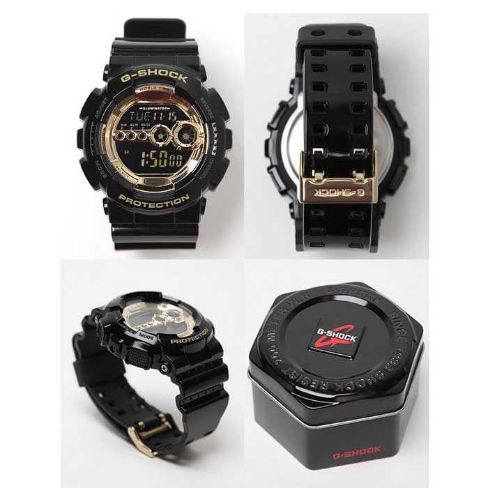 Genuine Casio G-Shock GD-100GB-1ER Men's Gold Dial Digital Wrist Watch - Black