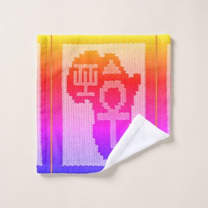 Africa Symbols Unique Rainbow Crochet Print on Wash Cloth - original gifts diy cyo customize