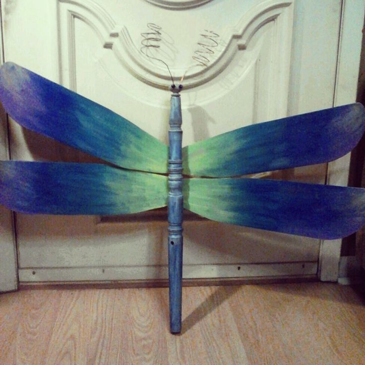 Upcycled dragonfly made from ceiling fan blades and table leg - created by feather friendsy