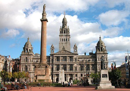 Glasgow's George Square. This has old architecture and new modern architecture side by side. It is great to see both types of architecture side by sode and mixes really well together.