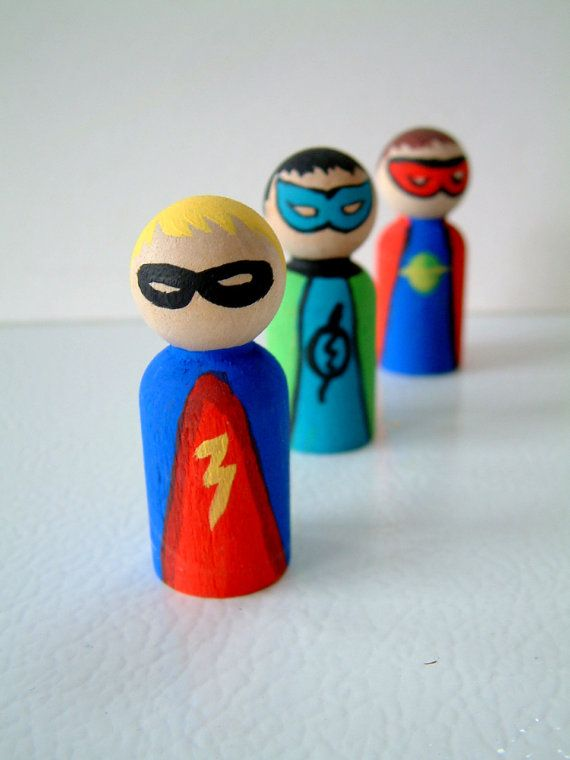 Super hero wooden people. Could also do princesses or fairies. Fun little summer project.