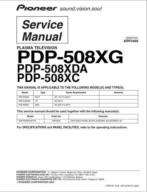 Pioneer PDP-508XG , PDP-508XDA , PDP-508XC , Kuro TV , Original Service Manual (ARP-3468) 100 DOWNLOAD