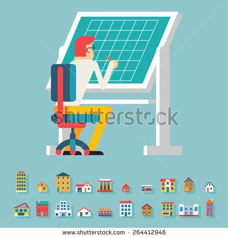 Engineer Planner Projector Designer Working at Table Icon Architecture Drawing Symbol Flat Design Vector Illustration