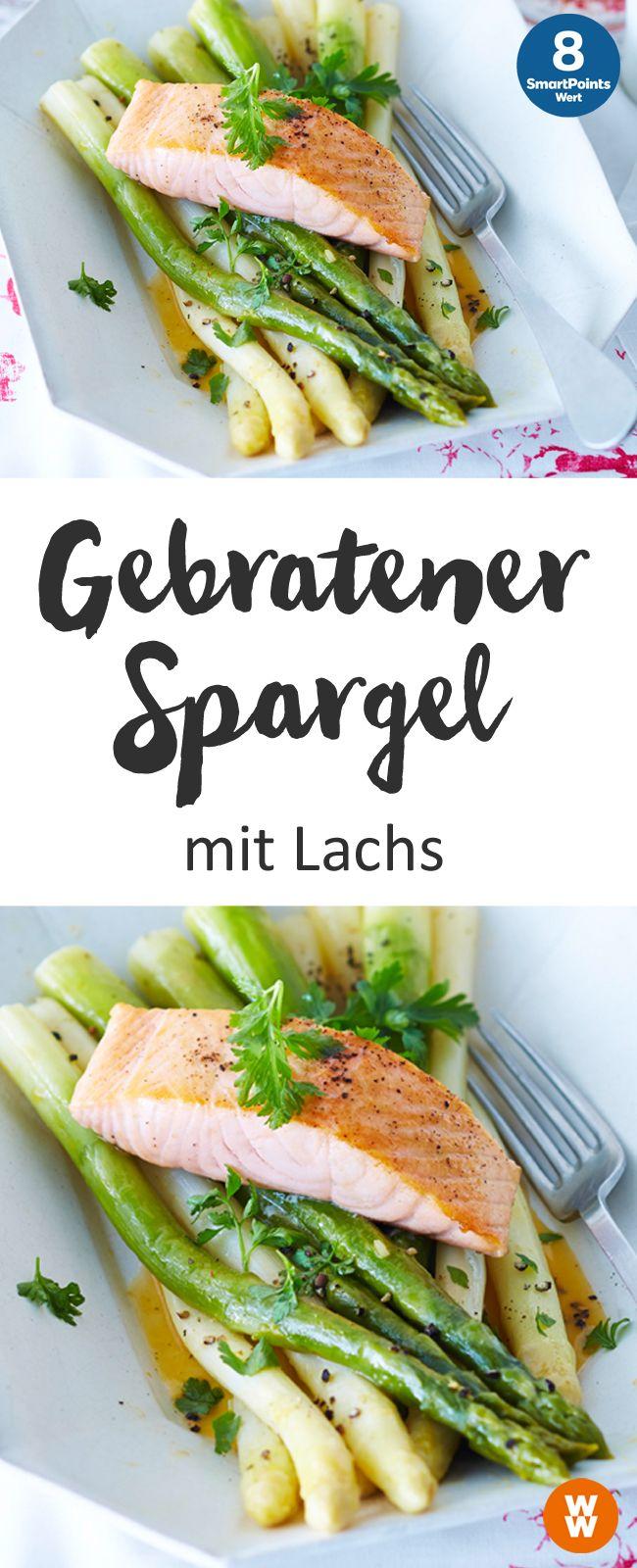 Gebratener Spargel mit Lachs, Spargelzeit, Fisch, Hauptgericht, Abendessen | Weight Watchers