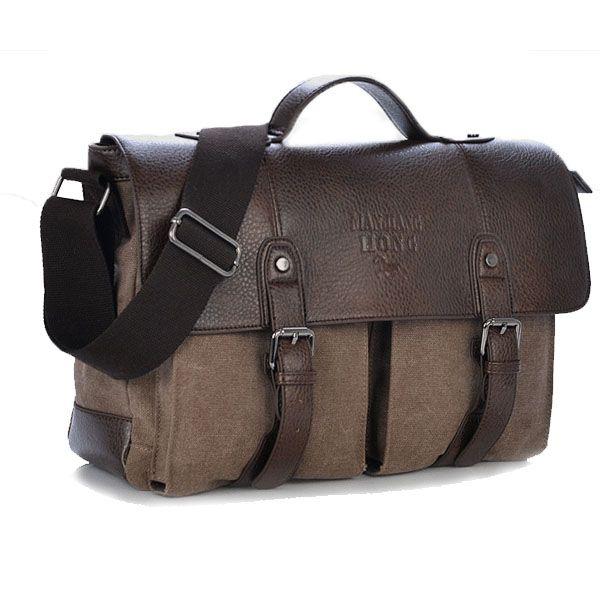 Männer Business Casual Leinwand PU Leder Schultertaschen Multi-Taschen Crossbody Taschen Messenger Handtaschen - NewChic