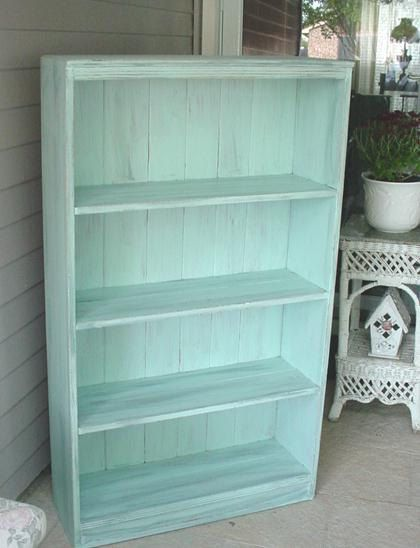 Awesome vintage bookcase with beadboard.  Painted in a custom French Blue.  $175.88   SOLD