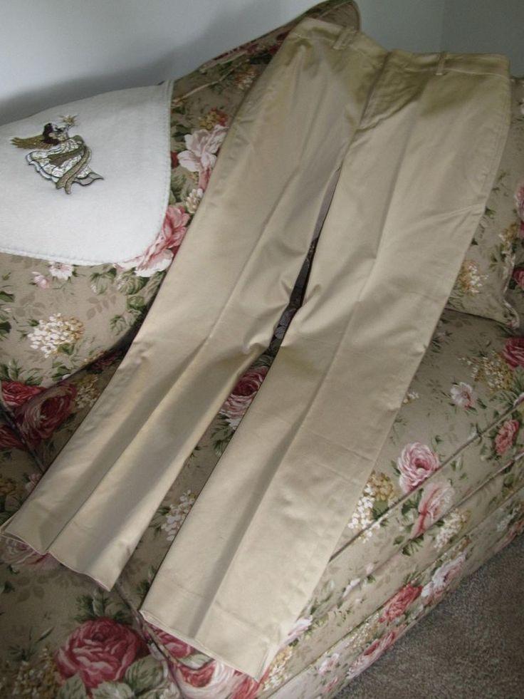 LAUREN RALPH LAUREN Womens Pale Gold / Sand Cotton Dress Casual Pants  Sz 6  NEW #RalphLauren #DressCasualPants