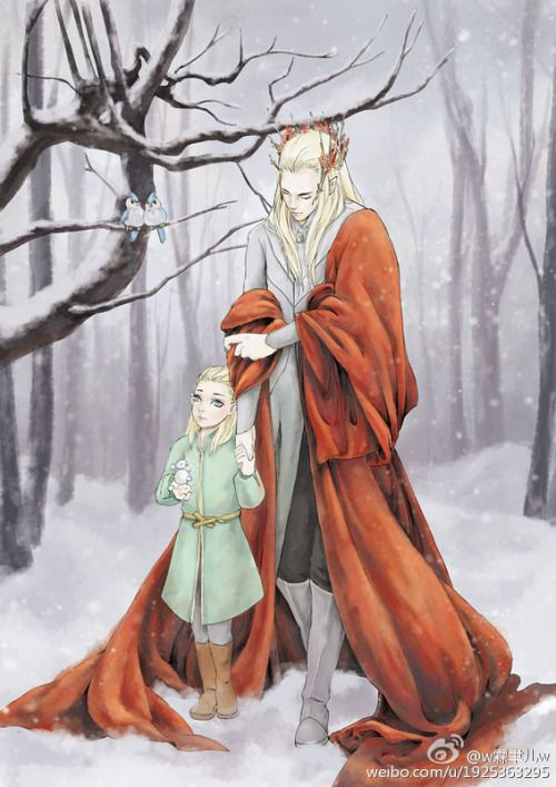"sigun-i-loki: "" Thranduil and Legolas by w霖聿儿w. """