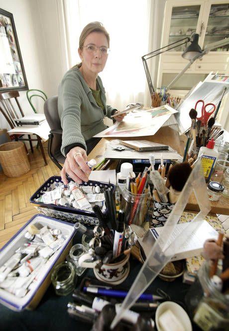 Illustrator Lisbeth Zwerger in the studio.