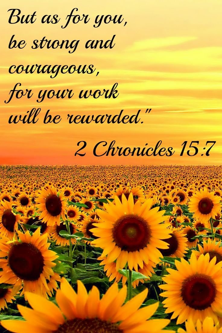 """<3 <3 2 Chronicles 15:5-7 (NLT) 5 """"During those dark times, it was not safe to travel. Problems troubled the people of every land. 6 Nation fought against nation, and city against city, for God was troubling them with every kind of problem. 7 But as for you, be strong and courageous, for your work will be rewarded."""""""