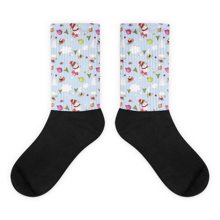 Snowmen and Birds Pattern Black Foot Socks