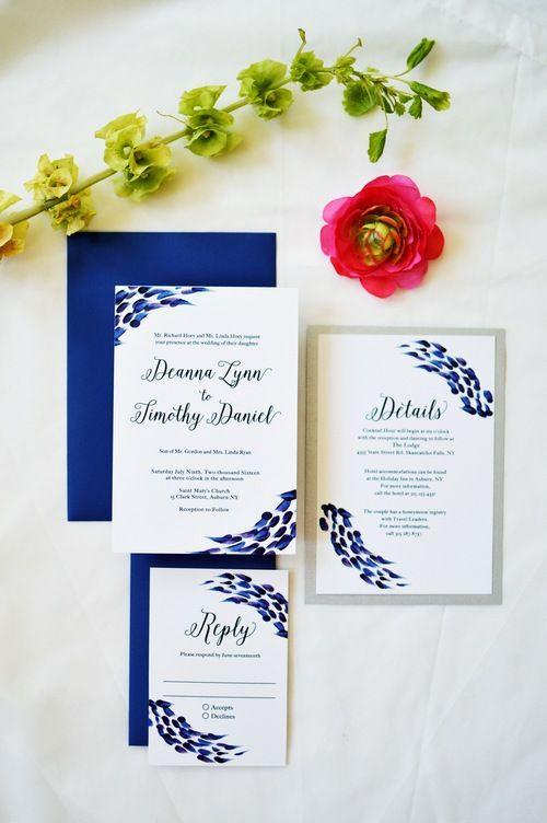 Royal blue, purple, silver artsy brush strokes and calligraphy wedding invitations // Emma Bauso Design