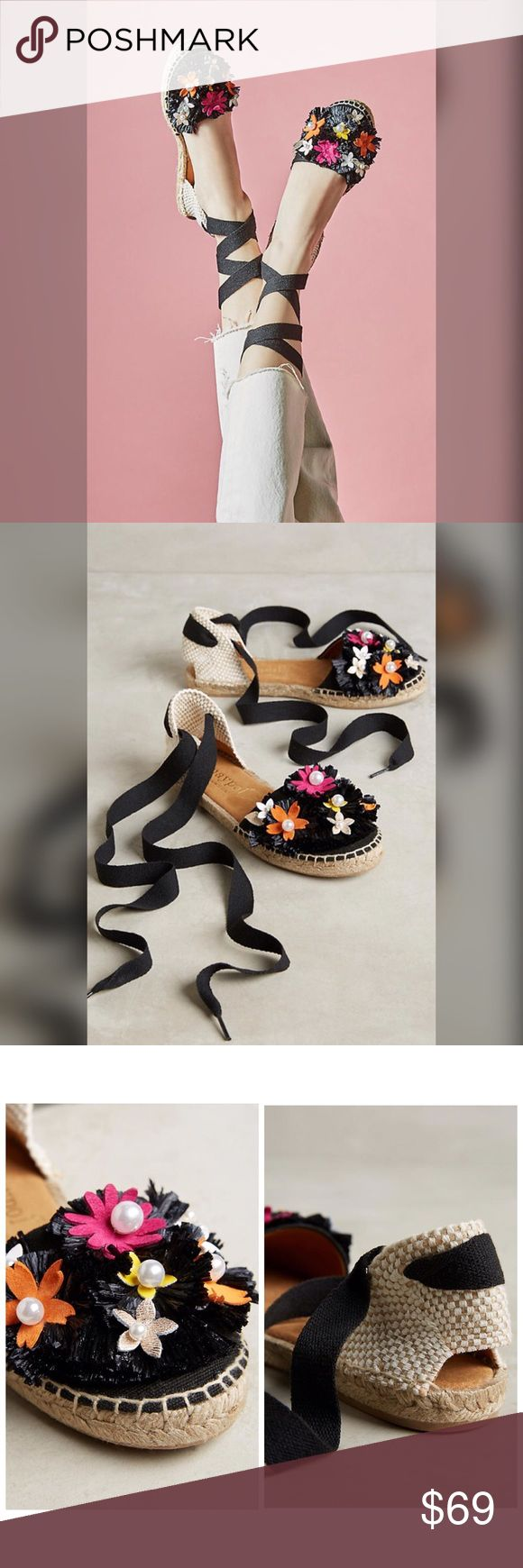 Anthropologie Maypol Solfi Floral Espadrilles Details:  •Size: 39 Euro (US 9) •Brand new in box •Retail: $98 •Raffia, plastic pearl upper •Leather insole •Rubber sole •Tie closure •Spain •Style No. 41449711 Anthropologie Shoes Espadrilles