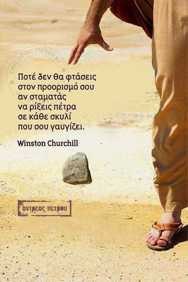 Ποτέ δεν θα φτάσεις στον προορισμό σου αν σταματάς να ρίξεις πέτρα σε κάθε σκυλί που σου γαυγιζει - Winston Churchill