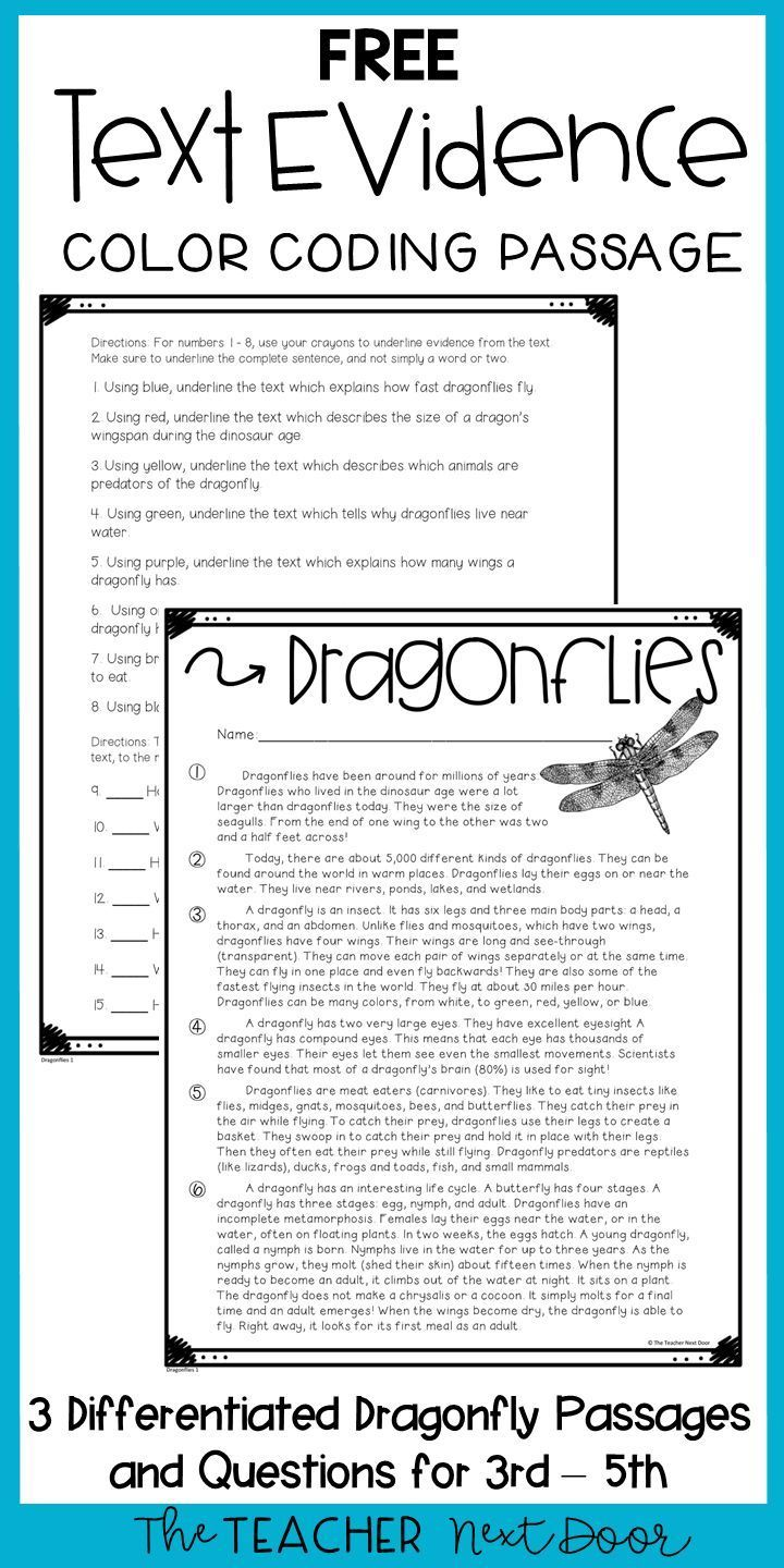 Text Evidence Color Coding Freebie   Text Evidence Freebie for 3rd - 5th  Grades   Text evidence [ 1440 x 720 Pixel ]