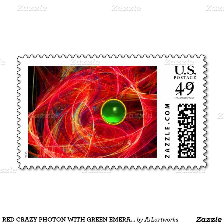 RED CRAZY PHOTON WITH GREEN EMERALD GEMSTONE STAMP