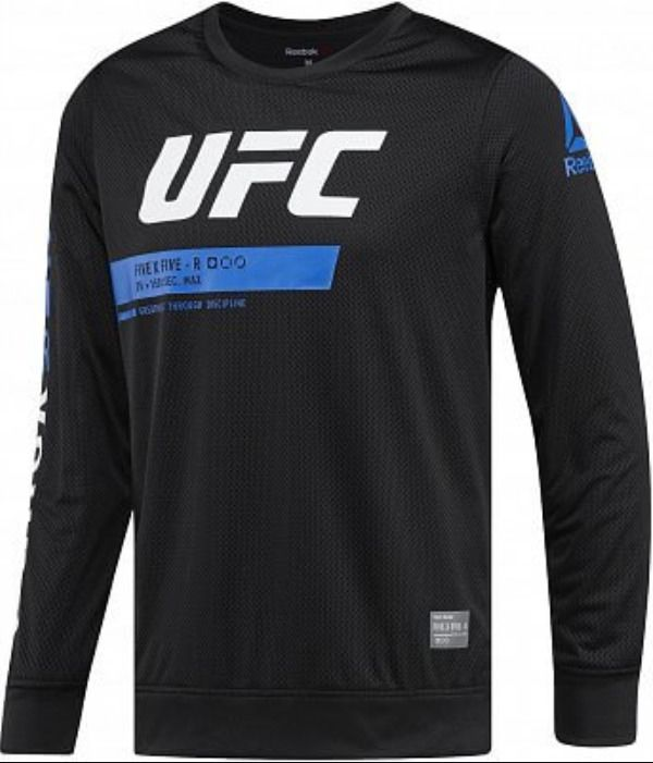 23b4e71bf New Reebok x UFC Mens Fighting Black Long Sleeve Athletic Cut Mesh Tee T- Shirt M  UFC  AthleticTee